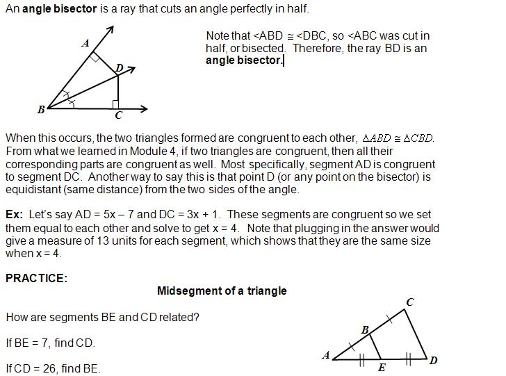 Bisectors of Angles Worksheets Angle Bisectors
