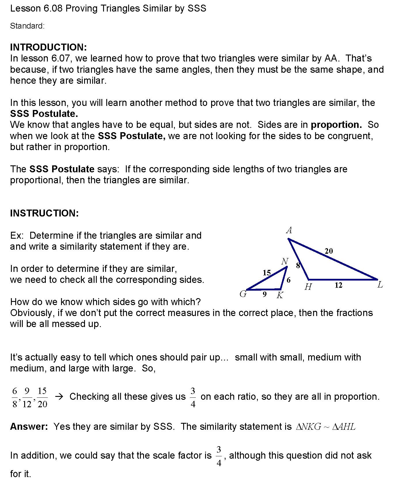 Worksheets Proving Triangles Similar Worksheet cosgeometry lesson 6 08 proving triangles similar by sss