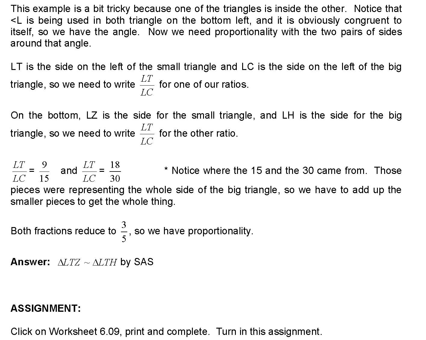 cosgeometry Lesson 609 Proving triangles similar by SAS – Proving Triangles Similar Worksheet
