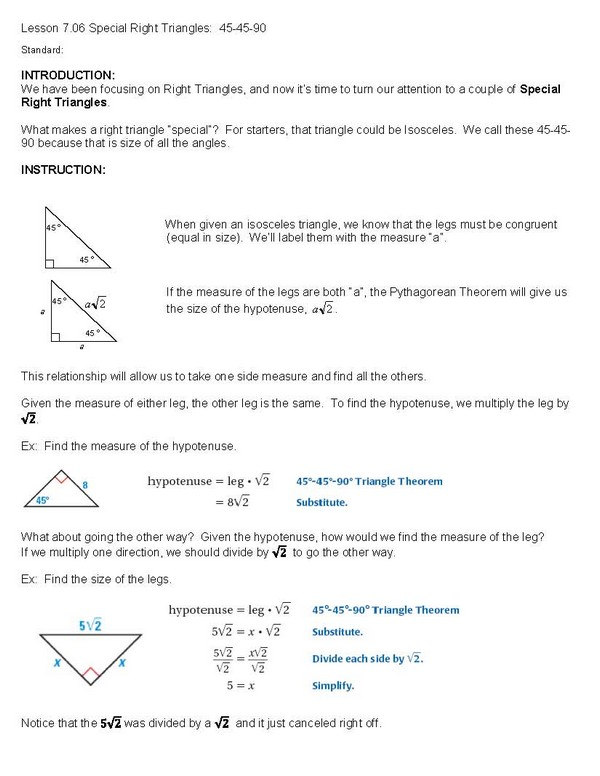 Printables Geometry Special Right Triangles Worksheet Answers geometry special right triangles 45 90 site that will solve any math problem maths homework sheets year 7 lhu d2l answers to st big seed triangles