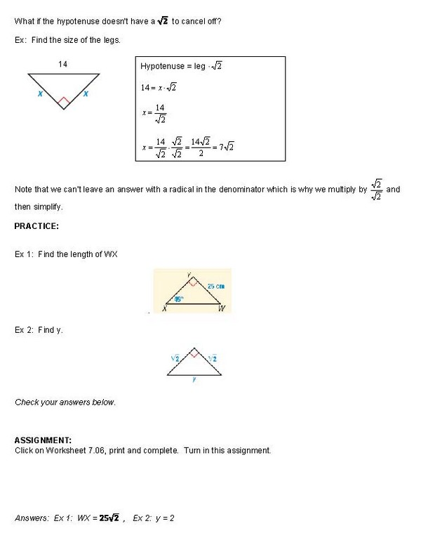 cosgeometry Lesson 706 Special Right Triangles 454590 – Special Right Triangles 45 45 90 Worksheet