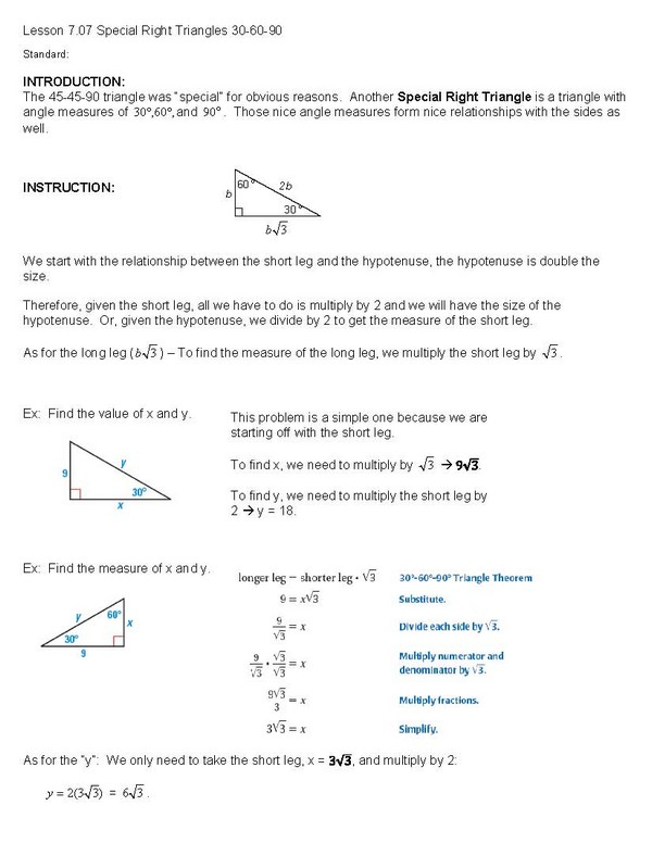 Worksheet 30-60-90 Triangle Worksheet cosgeometry lesson 7 07 special right triangles 30 60 90 90