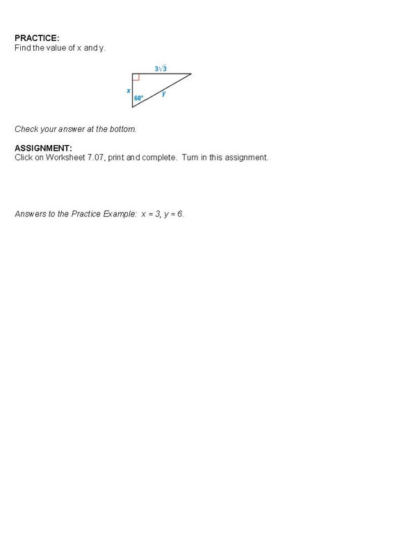 cosgeometry Lesson 707 Special Right Triangles 306090 – Special Right Triangles 30 60 90 Worksheet