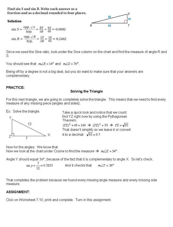 cosgeometry lesson 7 10 solving right triangles. Black Bedroom Furniture Sets. Home Design Ideas