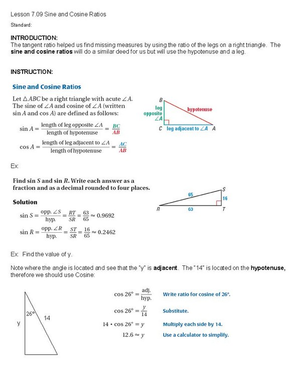 Cosgeometry Lesson 7 09 Sine And Cosine Ratios