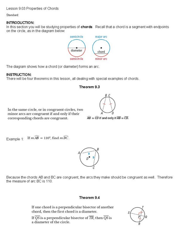 cosgeometry / Lesson 9-03 properties of chords