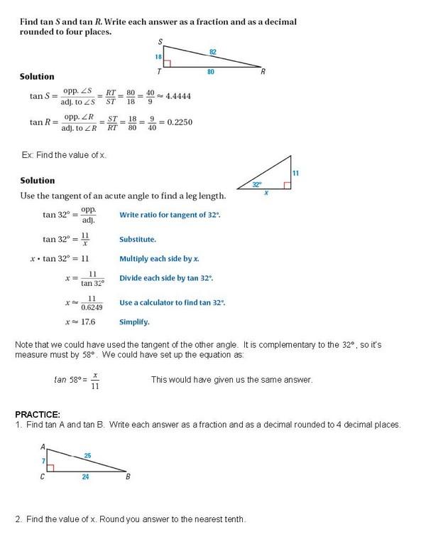 cosgeometry / Lesson 7 08 The Tangent Ratio